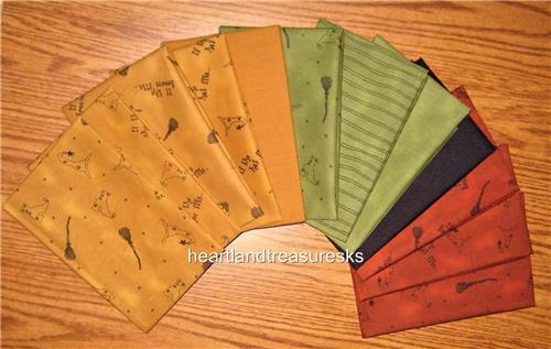 12  Halloween Prints ~Solids  Fat Quarter Bundle Honey & Me Fabrics