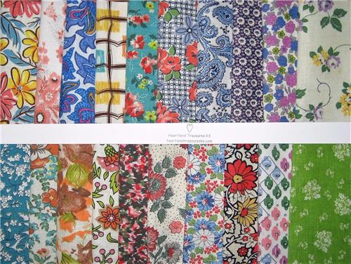 "Vintage Feedsack Fabric   20  5"" Square  Charm Bundle  No Duplicates"