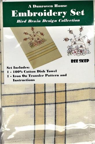 Bee Skep   Dish Towel  Embroidery Set  1 Towel  +  1 Transfer Pattern  Kit
