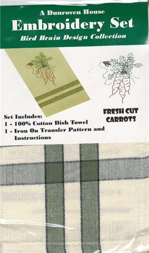 Fresh Cut Carrots  Dish Towel Embroidery Set  1 Towel  +  1 Transfer Pattern Kit