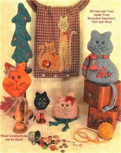 Sweater Kitties Pincushions ~ Sitting Kitty ~ Appliques Sewing Pattern