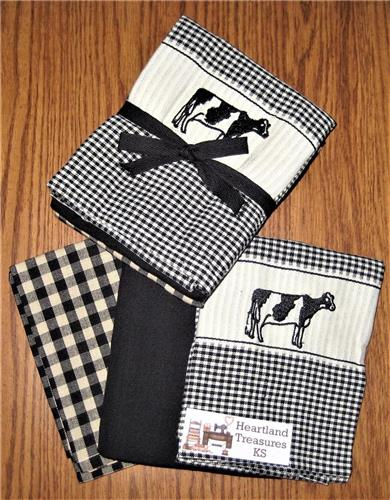 Dunroven House  Black & Wheat Cow Dishtowel Set of 3   Checked ~ Solid ~ Plaid