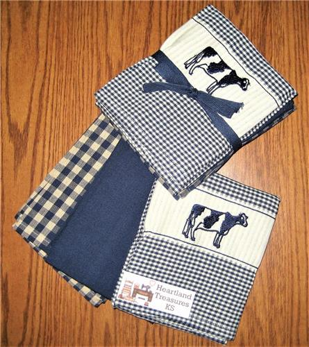 Dunroven House  Navy & Cream Cow Dishtowel Set of 3   Checked ~ Solid ~ Plaid