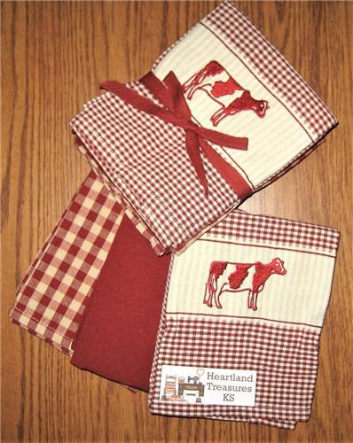 Dunroven House  Red & Cream Cow Dishtowel Set of 3   Checked ~ Solid ~ Plaid