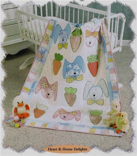 Bunnies & Carrots Baby Quilt  Creative Scrap Quilt Pattern Series  w/  Templates