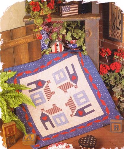 Americana Homestead   Wall Quilt Pattern Leaflet w/ Flexible Templates