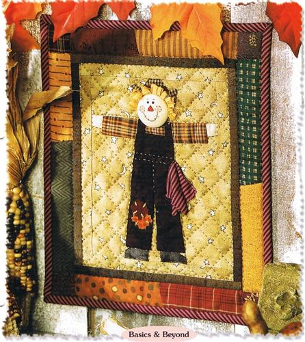 Buttoned On Scarecrow  Paper Pieced Creative Scrap Wall Quilt Pattern Series