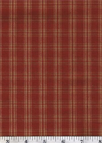 Dunroven House H-31 Primitive Style Homespun Dark Red Large Plaid Fabric 1/2 Yd Cut