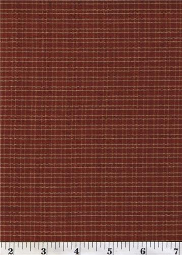 Dunroven House H-311 Primitive Style Homespun Dark Red Sm Thin Plaid Fabric 1/2 Yd Cut