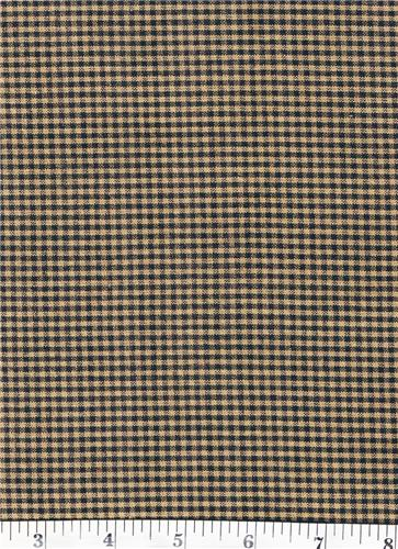 Dunroven House H-53 Primitive Style Homespun Small Black Plaid Fabric 1/2 Yd Cut