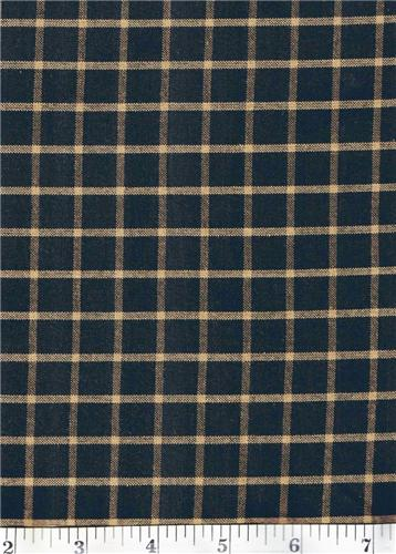 Dunroven House H-50 Primitive Style Homespun Black Large Plaid Fabric 1/2 Yd Cut