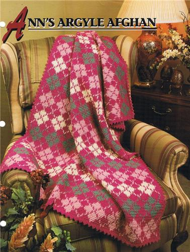 Ann's Argyle  Annie's Attic Crochet Afghan Pattern Instructions