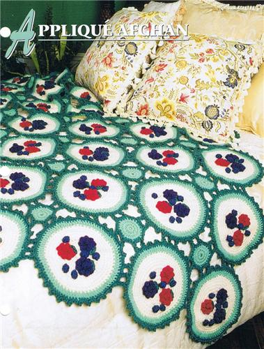 Applique Afghan     Annie's Attic Crochet Afghan Pattern Instructions