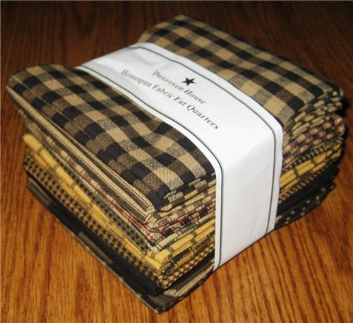 Dunroven House 12  Blacks & Mustard Primitive Homespun Fabric  Fat Quarters