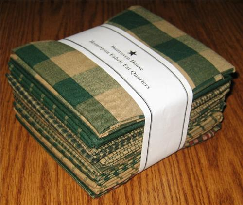 Dunroven House 12  Hunter Green Primitive Homespun Fabric  Fat Quarters