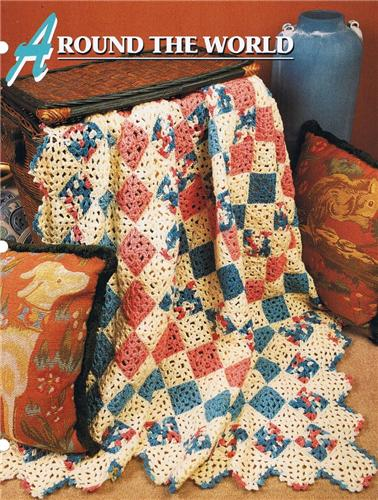 Around The World  Annie's Attic Crochet Afghan Pattern Instructions