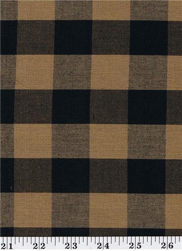 Dunroven House H-590 Primitive Homespun Black & Tan Large Plaid Fabric 1/2 Yd