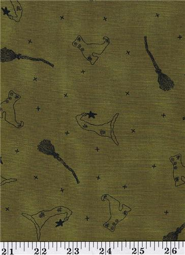 Honey and Me Moss Green Halloween Witches  Fabric  1/2 Yd Cut Off The Bolt