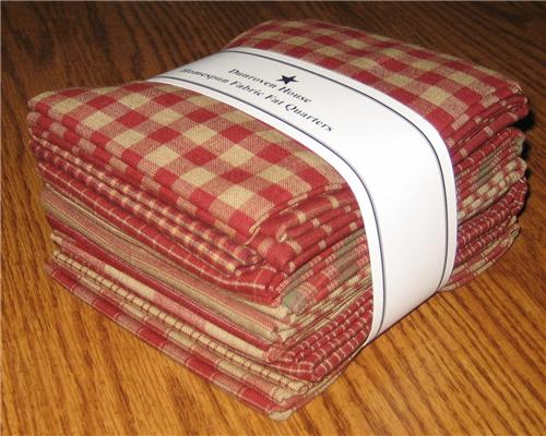 Dunroven House 12 Red Primitive Homespun Fabric  Fat Quarter Bundle