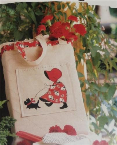 Sunbonnet Tote Bag   Applique Quilted  Pattern Leaflet w/ Flexible Template