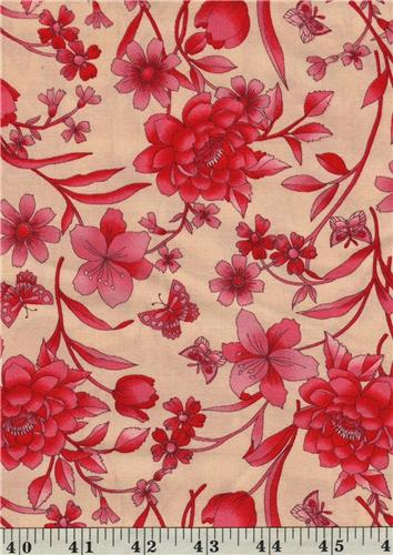 Classic Red Large Floral Ecru  Cotton Quilting Fabric 1/2 Yd Cut Off The Bolt