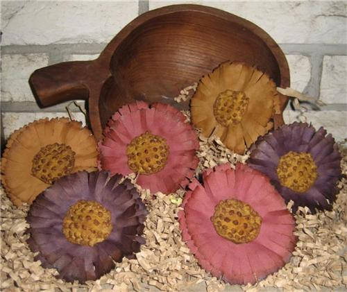 Primitive Fall Fabric Flower Bud Bowl Fillers / Ornies