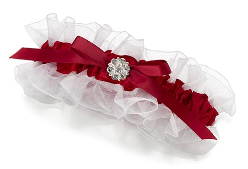 Red & White Garter with Silver Plated Ornament