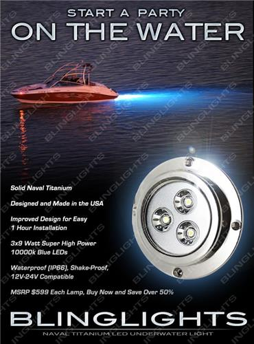 1 x Blue LED Titanium Hull Lamp Boat Yacht Underwater Lighting Fish Maring Lights