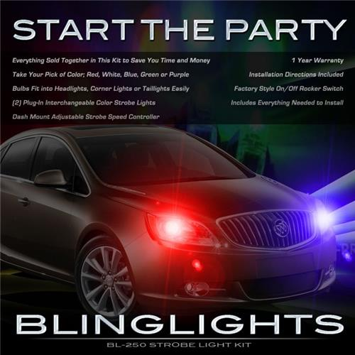 Buick Verano Police Strobes for Headlamps Headlights Head Lamps Lights Strobe Light Lamp Kit