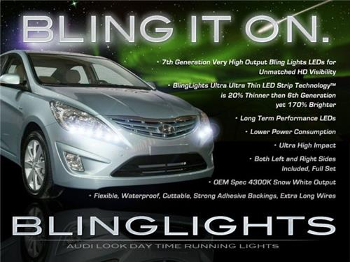 Hyundai Accent LED DRL Head Light Strips Day Time Running Lamp Kit