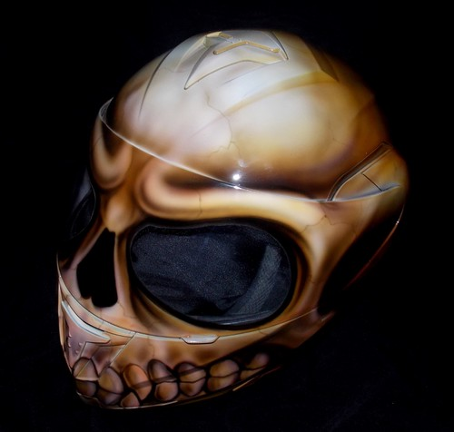 Custom Painted Airbrushed Flaming Skull Motorcycle Helmet ...