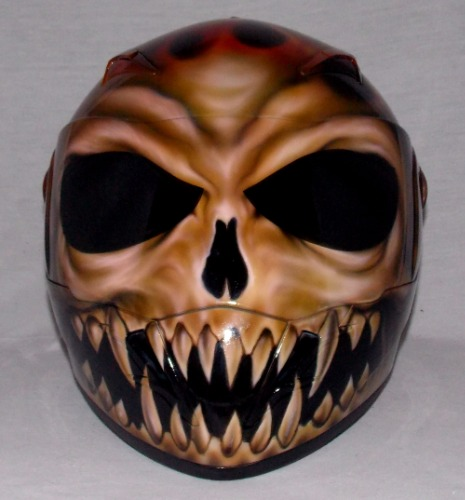 Custom Painted Airbrushed Flaming Dark Lord Skull ...