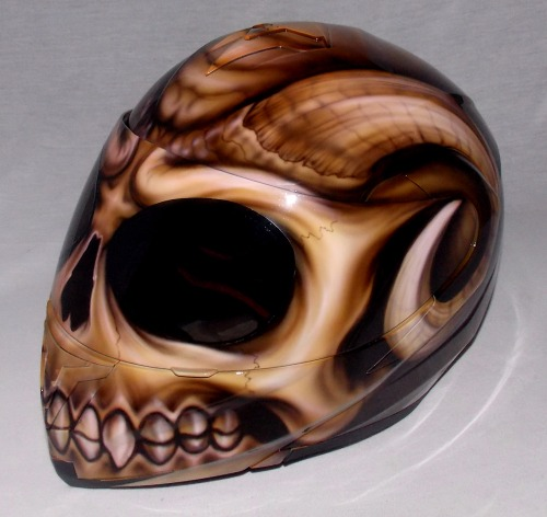 Custom 3d Painted Airbrushed Hell Goat Skull Motorcycle ...