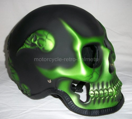 Coolest Hat Ever >> Skull Skeleton Death GHOST RIDER Green Fullface Motorcycle 3D Helmet - Motorcycle Retro Helmets