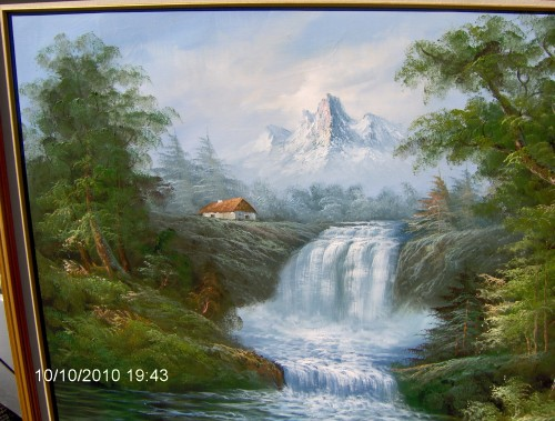 Oil Painting By R Danford Waterfall Landscape Michelle
