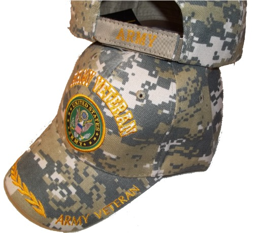UNITED STATES ARMY VETERAN CAMO EMBROIDERED BASEBALL CAP usa vet seal hat