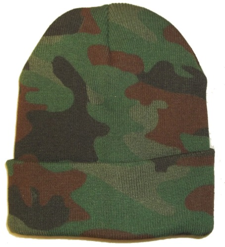 c306cf64827 WOODLAND CAMO CAMOUFLAGE BEANIE HAT hunting warm winter green brown skull  cap. 100 1512