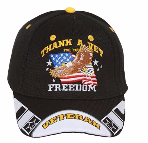 37859ab289c THANK VET FOR YOUR FREEDOM EMBROIDERED BASEBALL STYLE HAT eagle flag ...