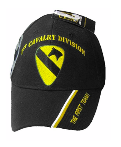 4f70aa7f6 1st CAVALRY DIVISION BLACK EMBROIDERED BASEBALL CAP usa first team vet army