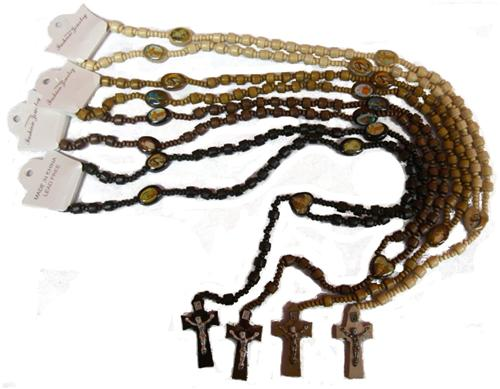 4pc Wood Rosary Cross Prayer Beads Set Christian Necklace Chain Jesus Piece