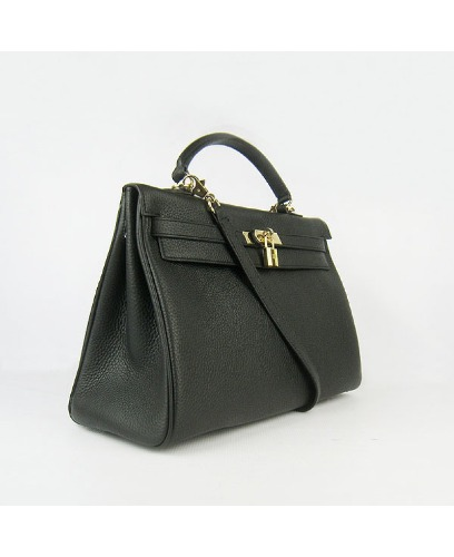 ff52a2b033b49 ... TOGO LEATHER GOLD HARDWARE 32 cm. HERMES INSPIRED KELLY BAG BLACK GOLD  HARDWARE