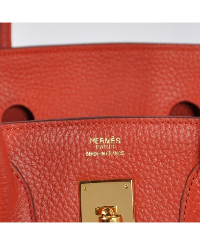 BRAND NEW HERMES INSPIRED BIRKIN BAG RED TOGO LEATHER GOLD HARDWARE 35 cm