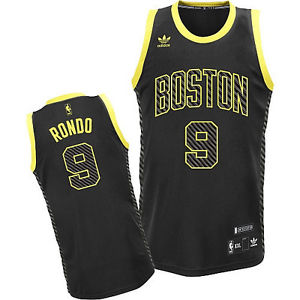 newest 694da 5e623 Adidas Boston Celtics Rajon Rondo Black/Yellow Swingman NBA Basketball  Jersey
