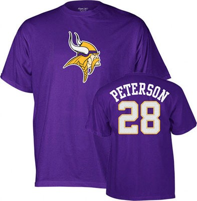 finest selection 6434d ce4a8 Reebok Minnesota Vikings Adrian Peterson NFL T-Shirt Jersey