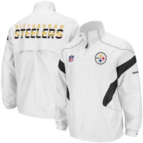 online store 14b4e 724b6 Reebok Pittsburgh Steelers NFL Sideline Hot Jacket White