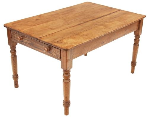 Antique 19c Victorian Pine Kitchen Scrub Top Dining Table With