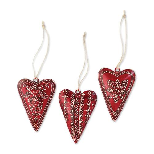 Silvestri Small Metal Red Heart Ornaments - 3 Assorted 2020140578