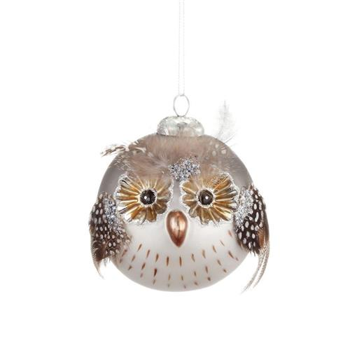 Silvestri Feathered Owl Eule Uhu Ball Ornament 2020150699