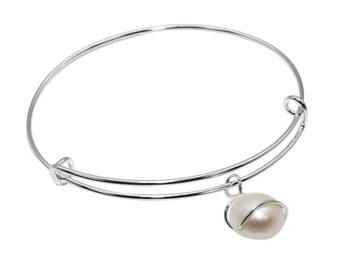 Alpaca White Pearl Bead Adjustable Bangle 1