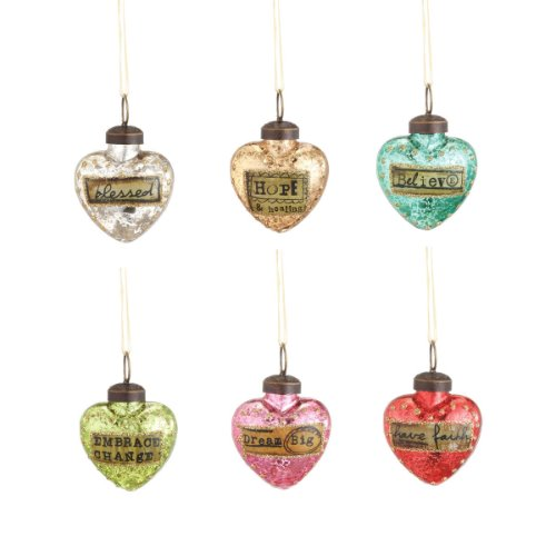 Mini Glass Heart Message Ornaments - 6 Assorted